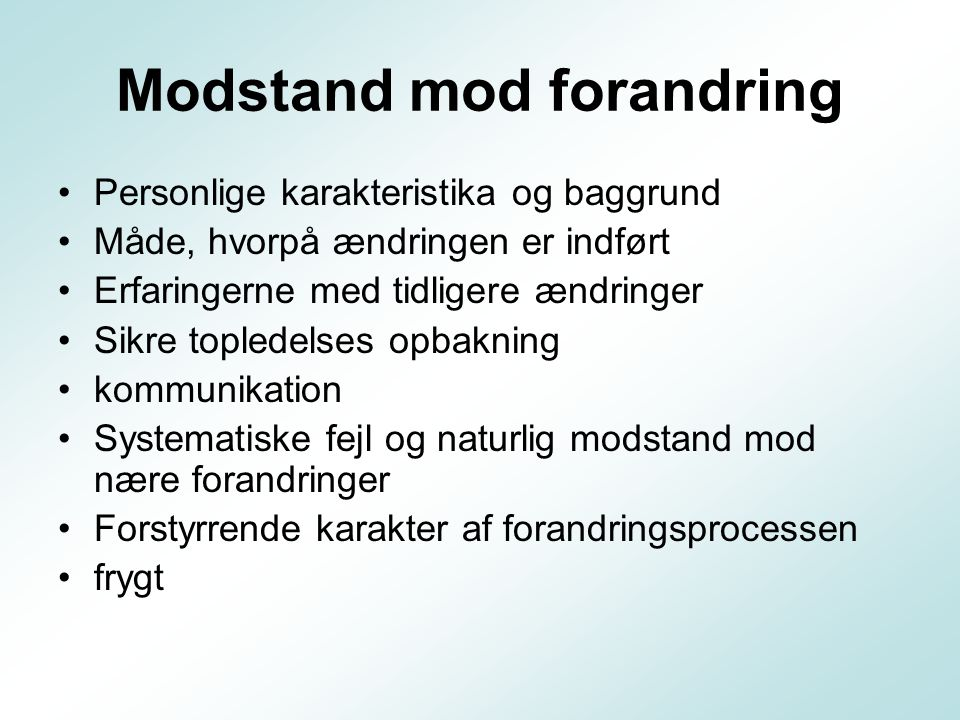 Modstand mod forandring