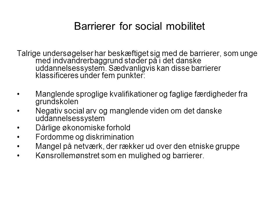Barrierer for social mobilitet