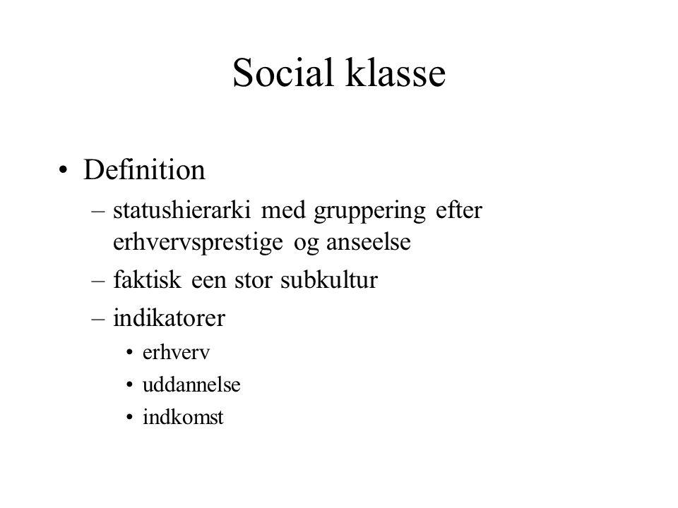 Social klasse Definition
