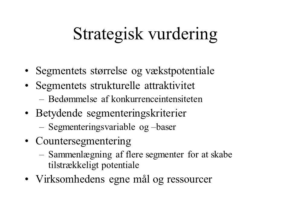 Strategisk vurdering Segmentets størrelse og vækstpotentiale