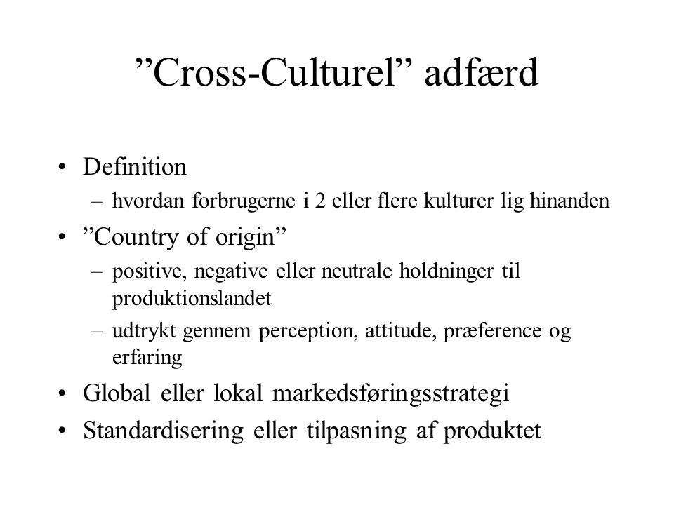 Cross-Culturel adfærd