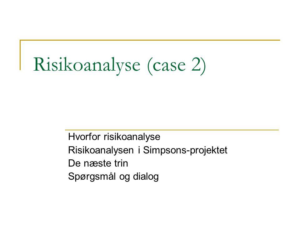 Risikoanalyse (case 2) Hvorfor risikoanalyse