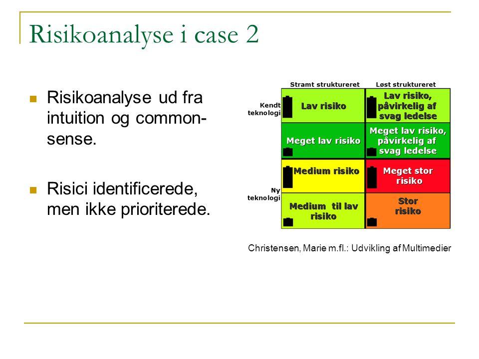 Risikoanalyse i case 2 Risikoanalyse ud fra intuition og common-sense.