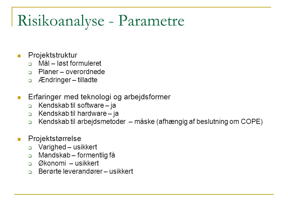 Risikoanalyse - Parametre