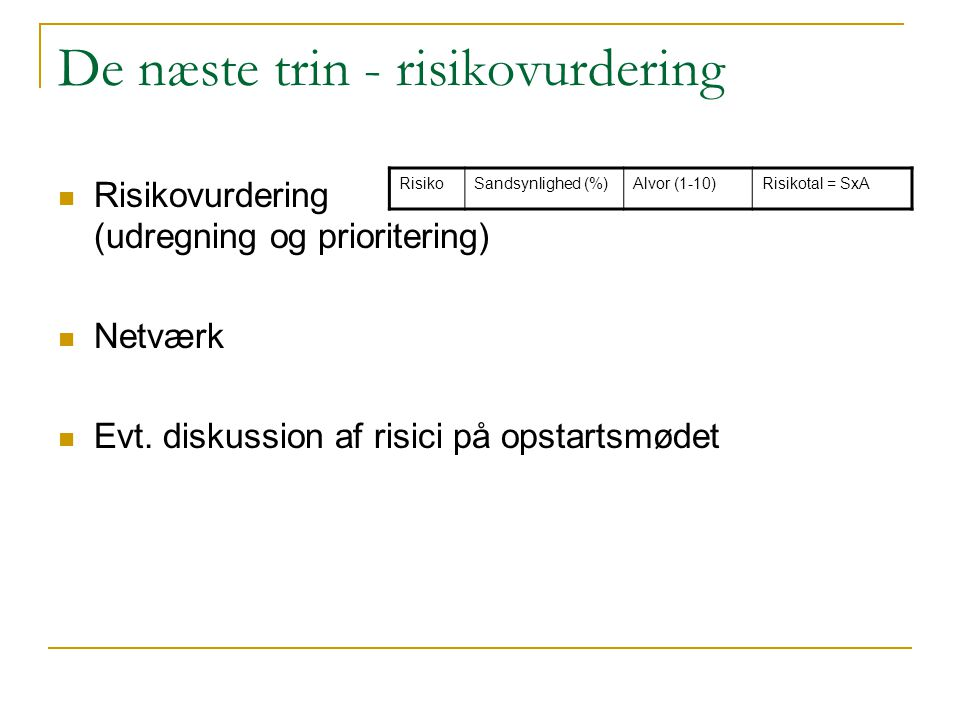 De næste trin - risikovurdering
