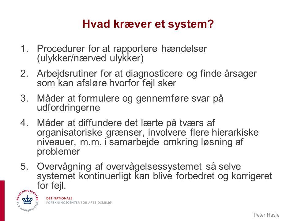 Hvad kræver et system Procedurer for at rapportere hændelser (ulykker/nærved ulykker)