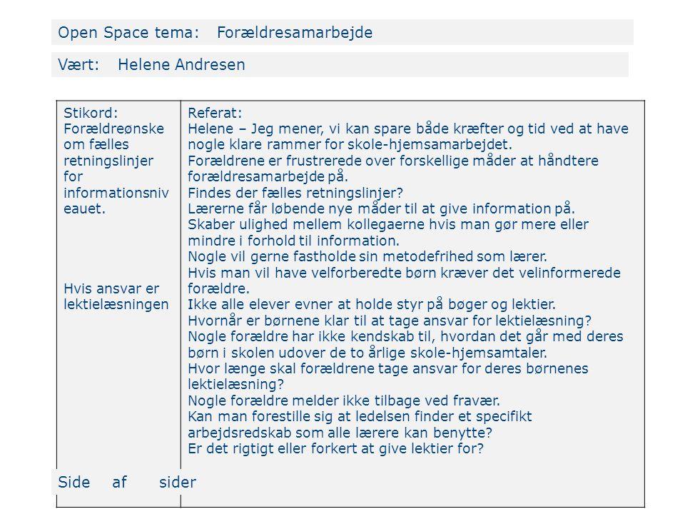 Open Space tema: Forældresamarbejde