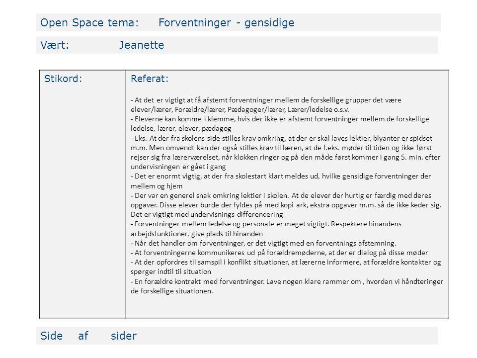 Open Space tema: Forventninger - gensidige