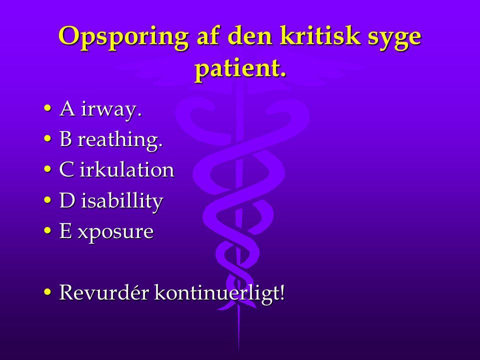 Opsporing af den kritisk syge patient.