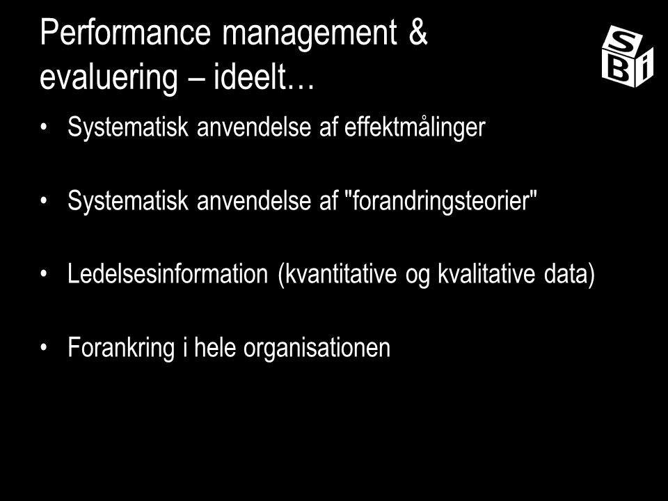 Performance management & evaluering – ideelt…