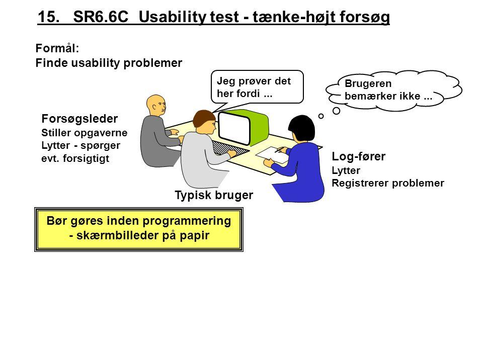 Bør gøres inden programmering - skærmbilleder på papir