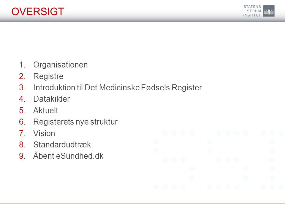 Oversigt Organisationen Registre