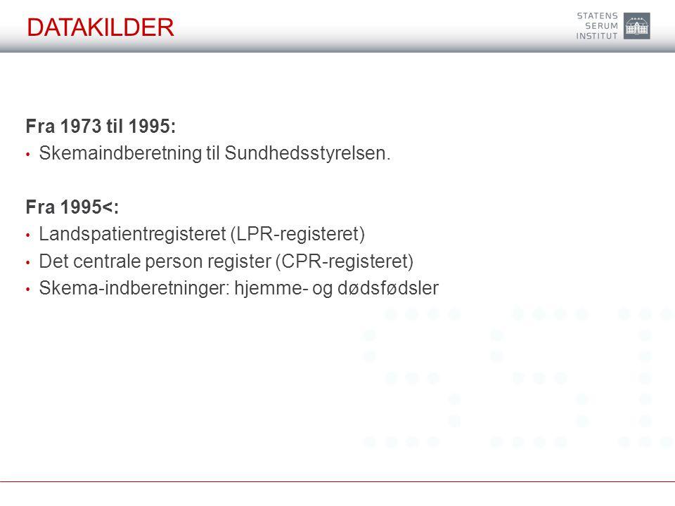 DATAkilder Fra 1973 til 1995: Skemaindberetning til Sundhedsstyrelsen.