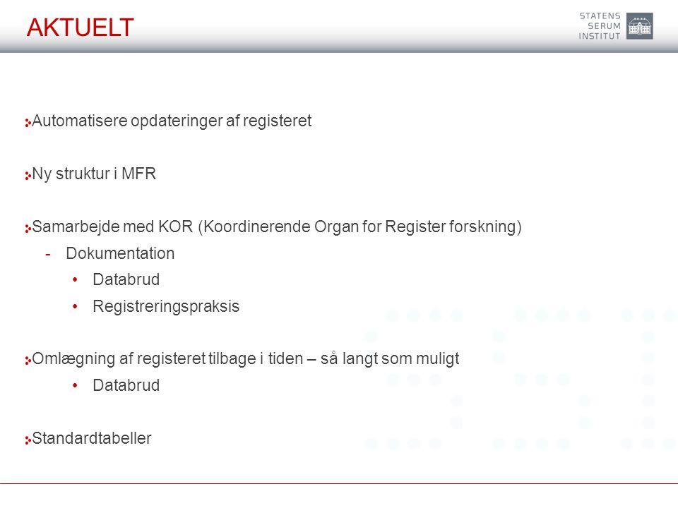 Aktuelt Automatisere opdateringer af registeret Ny struktur i MFR