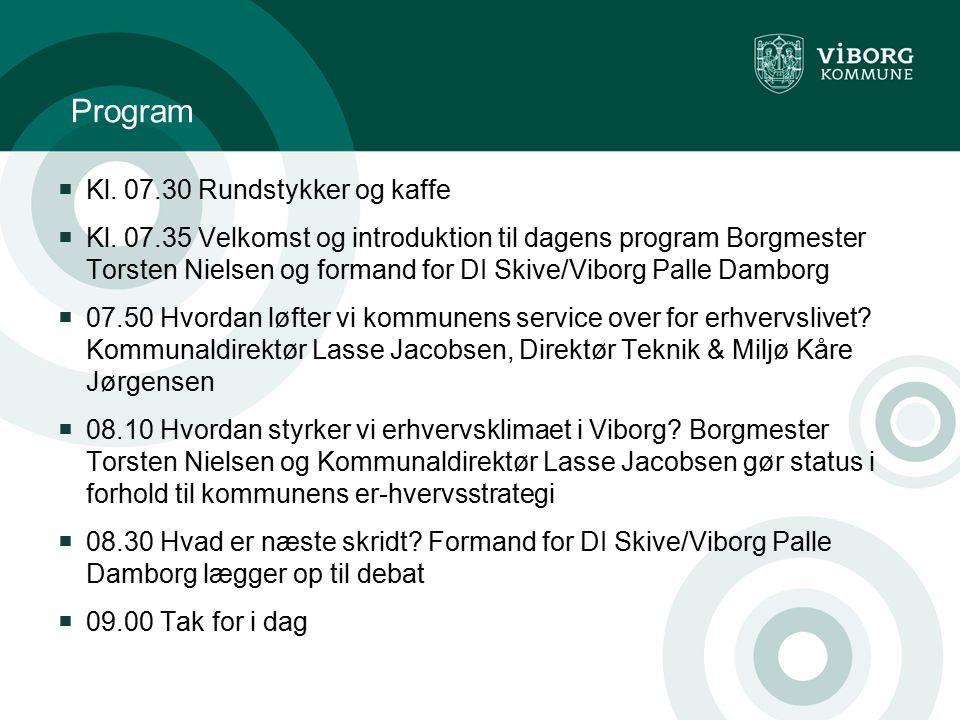 Program Kl. 07.30 Rundstykker og kaffe