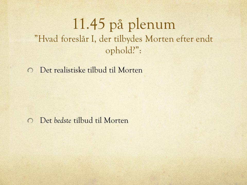11.45 på plenum Hvad foreslår I, der tilbydes Morten efter endt ophold :