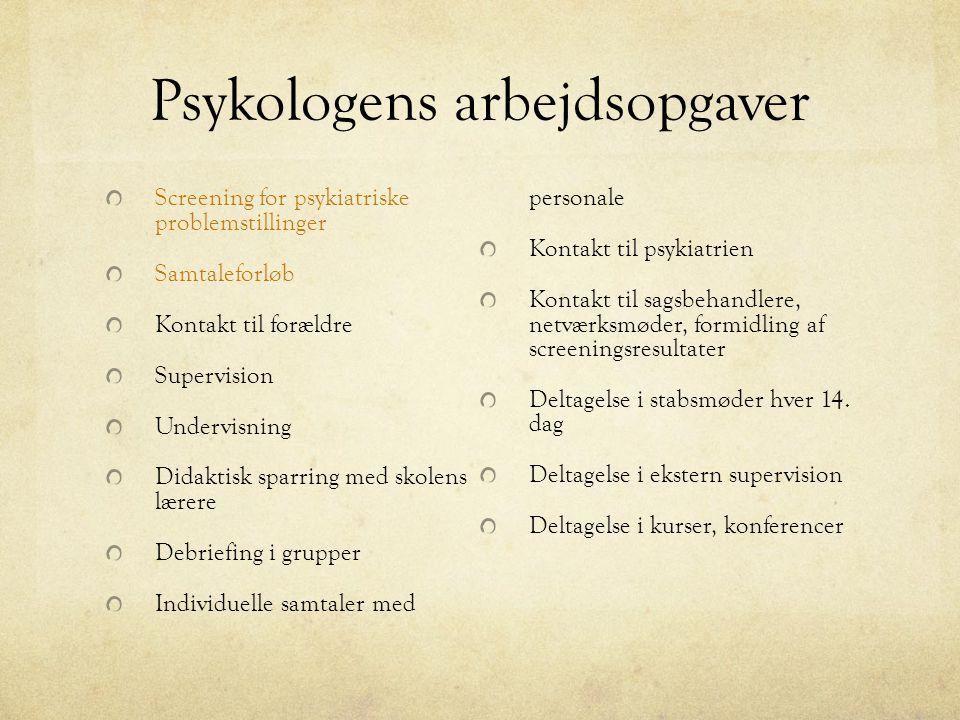 Psykologens arbejdsopgaver