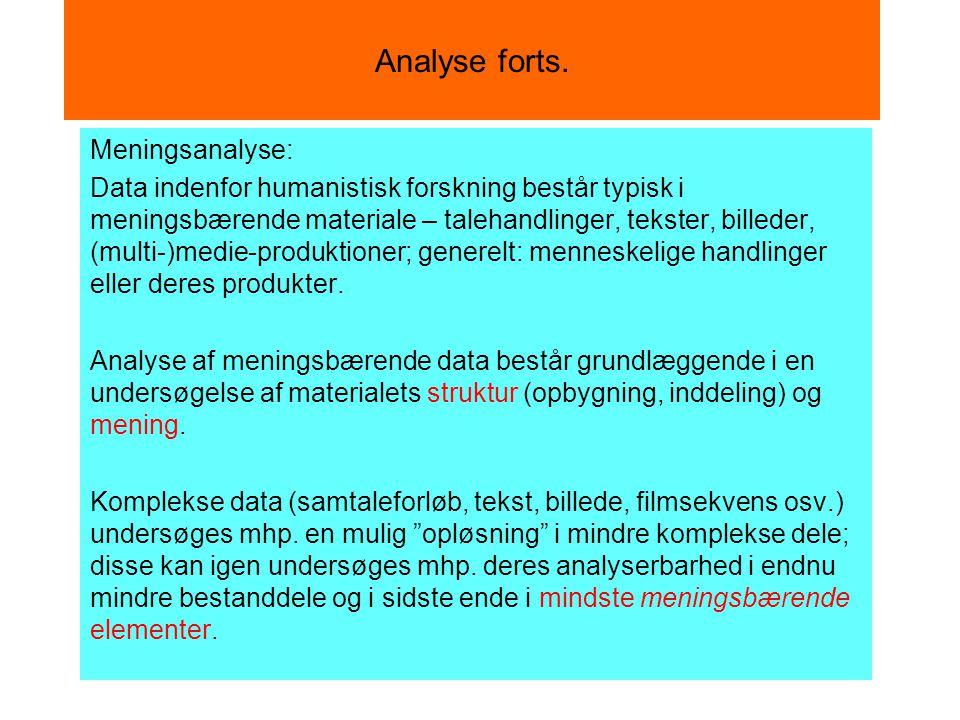 Analyse forts. Meningsanalyse: