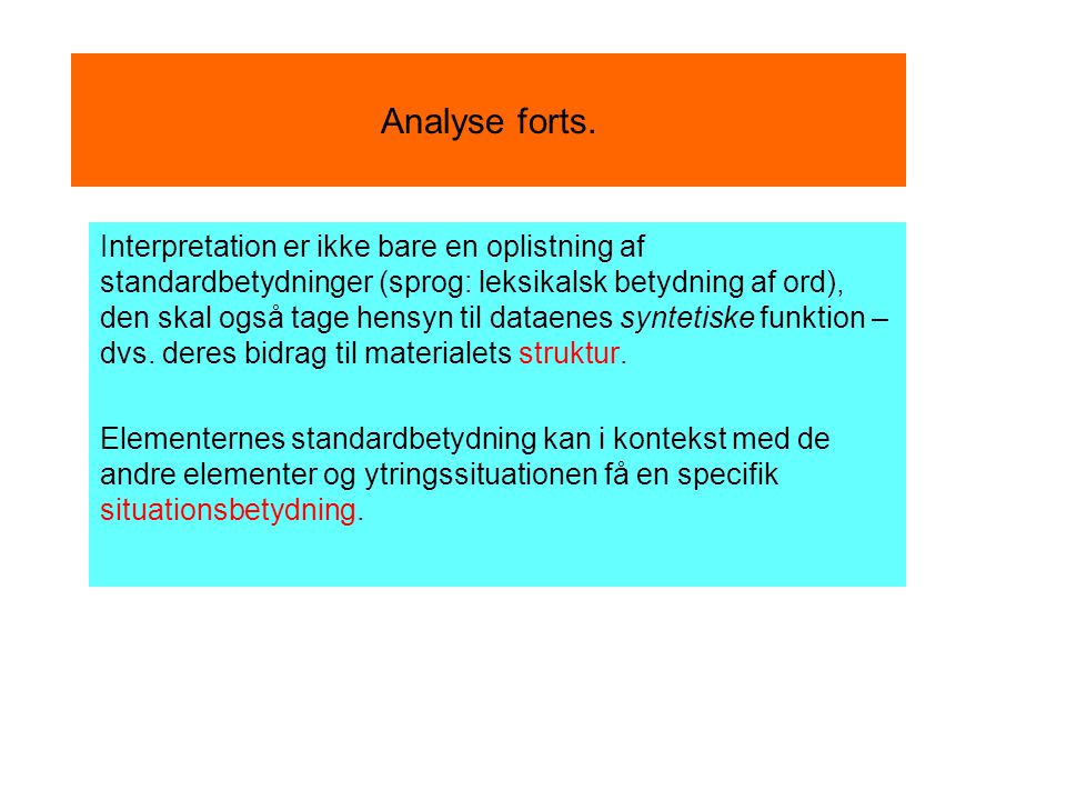 Analyse forts.