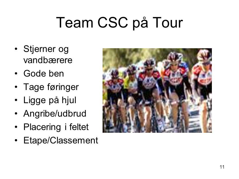 Team CSC på Tour Stjerner og vandbærere Gode ben Tage føringer