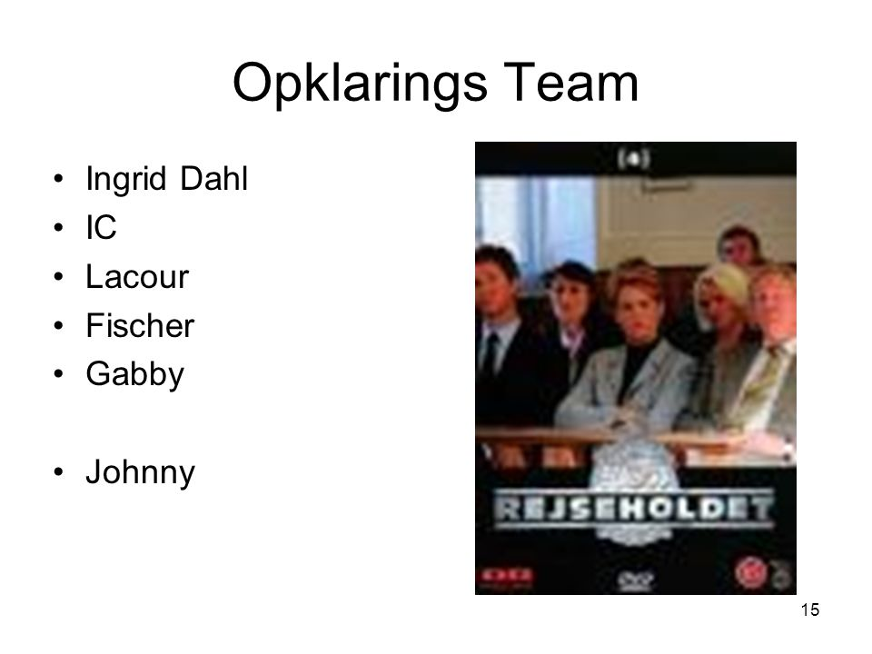 Opklarings Team Ingrid Dahl IC Lacour Fischer Gabby Johnny
