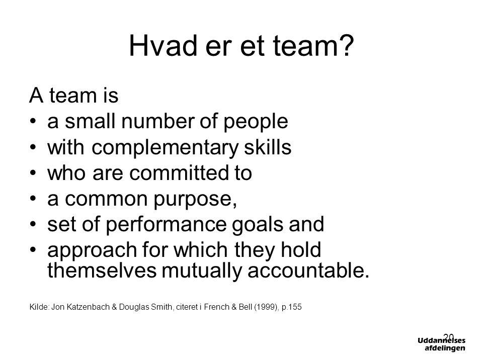 Hvad er et team A team is a small number of people