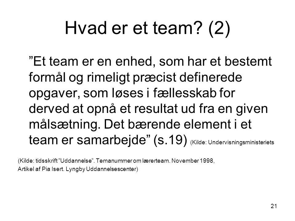 Hvad er et team (2)