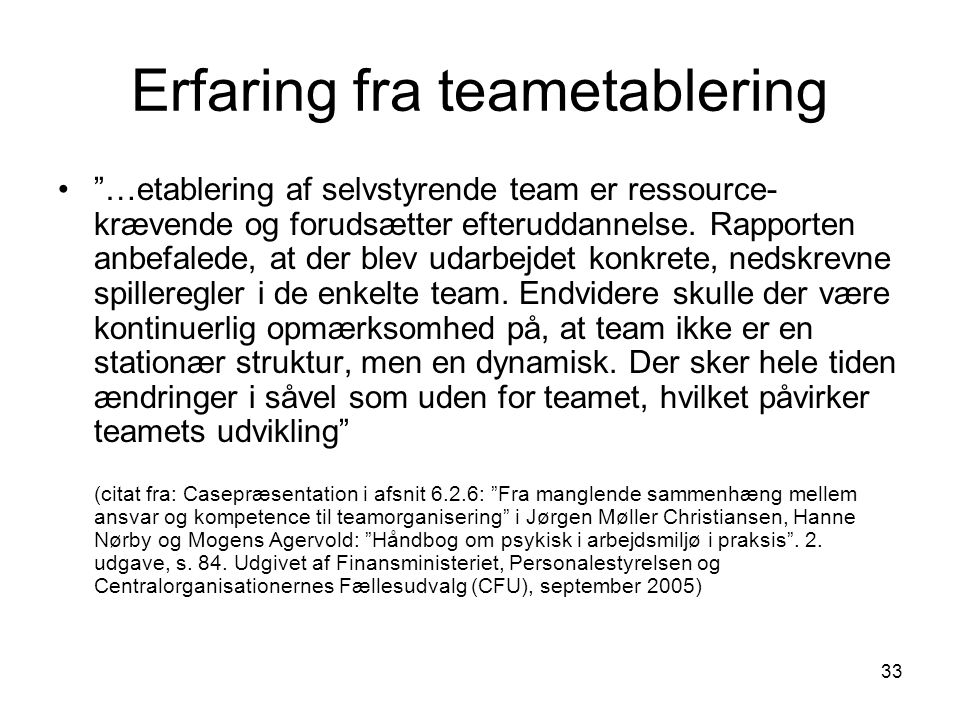 Erfaring fra teametablering