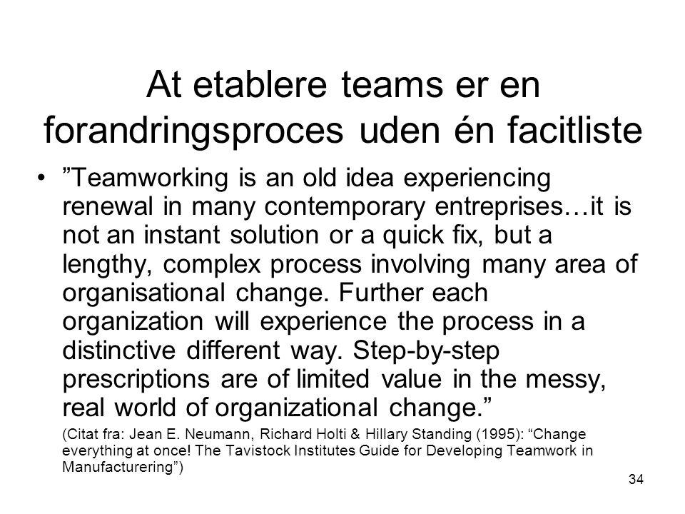 At etablere teams er en forandringsproces uden én facitliste