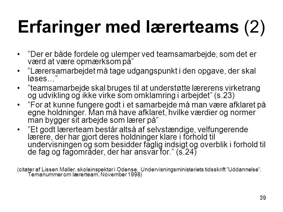Erfaringer med lærerteams (2)