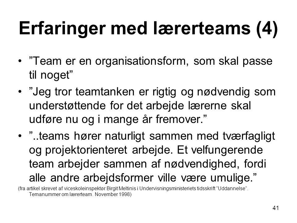 Erfaringer med lærerteams (4)