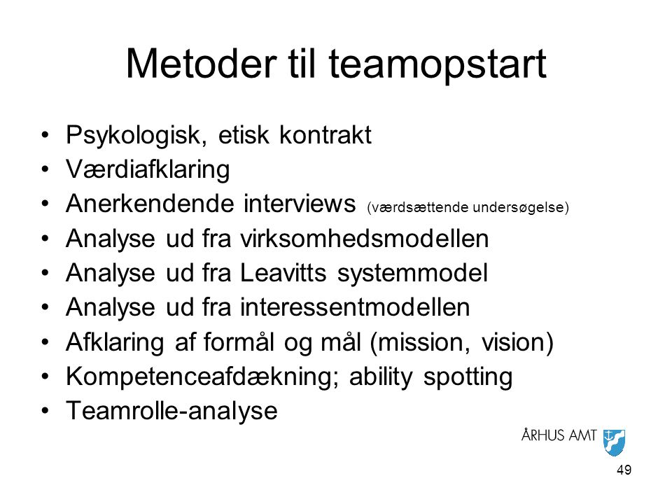 Metoder til teamopstart