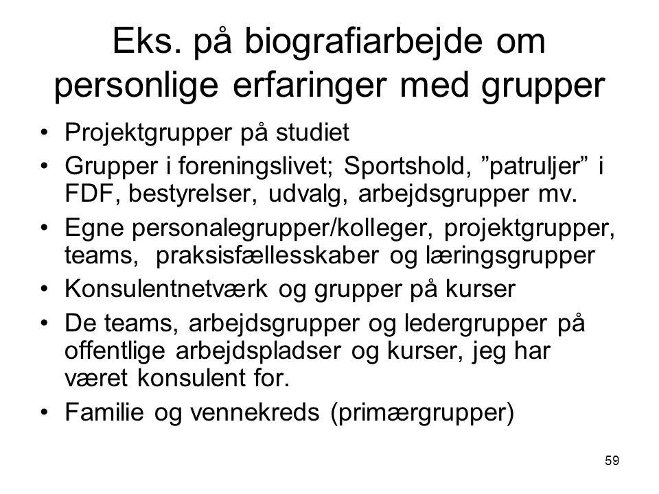 Eks. på biografiarbejde om personlige erfaringer med grupper