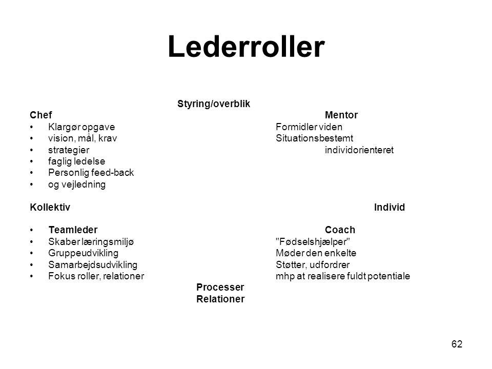 Lederroller Styring/overblik Chef Mentor