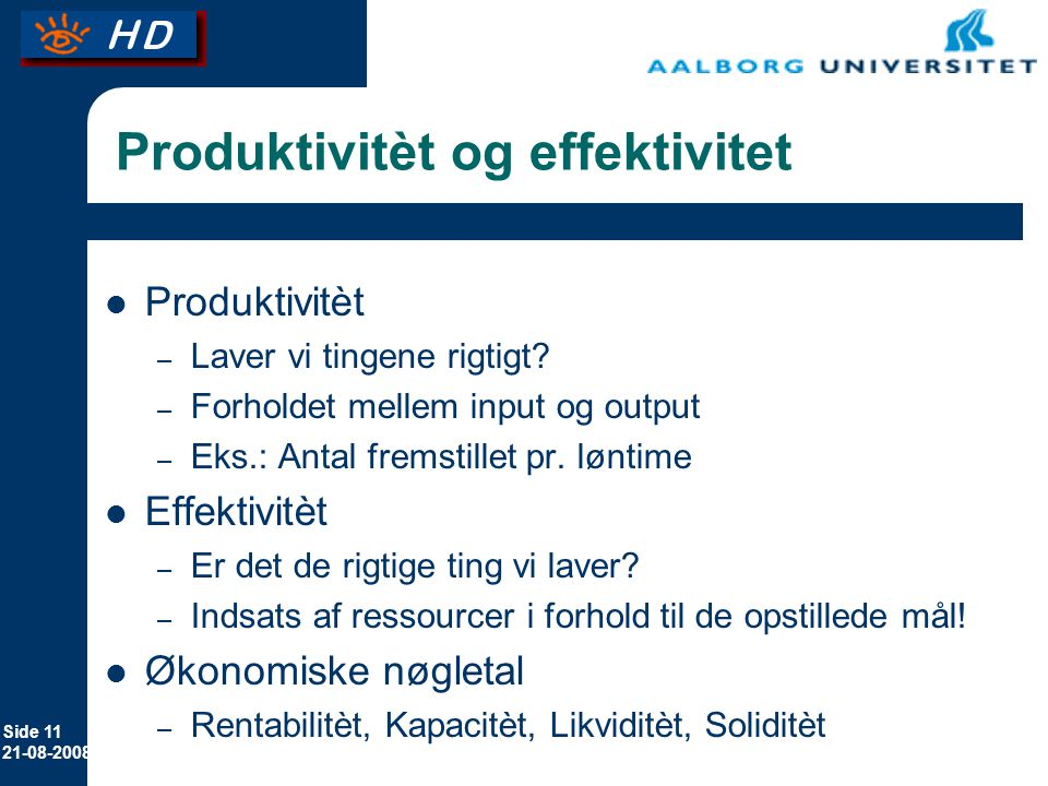 Produktivitèt og effektivitet