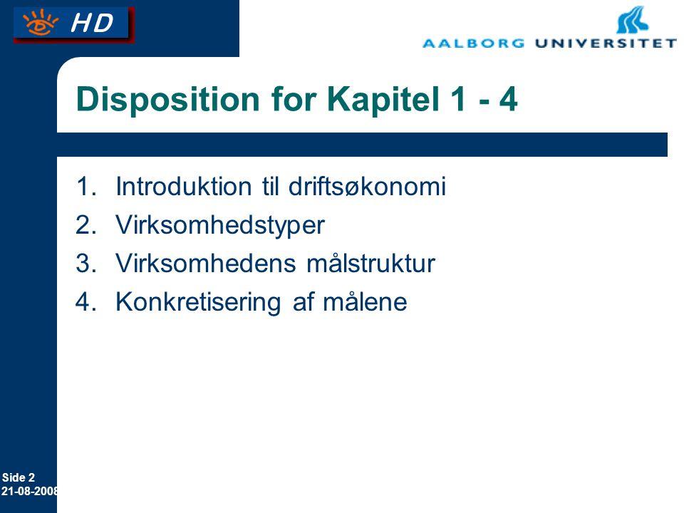 Disposition for Kapitel 1 - 4