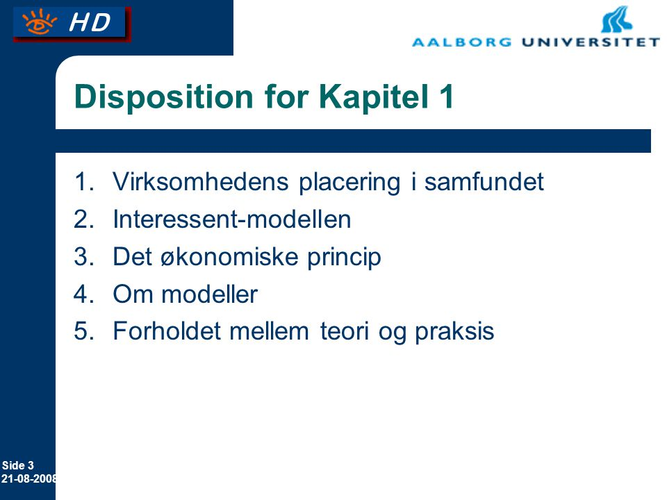 Disposition for Kapitel 1