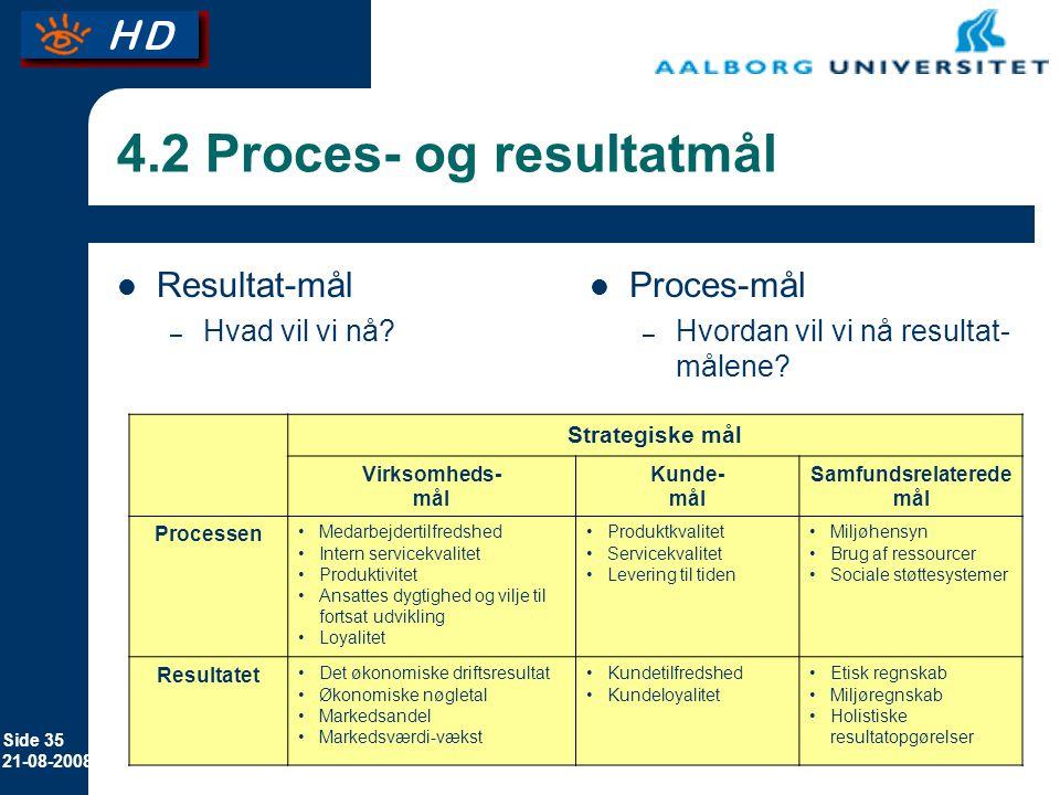 4.2 Proces- og resultatmål