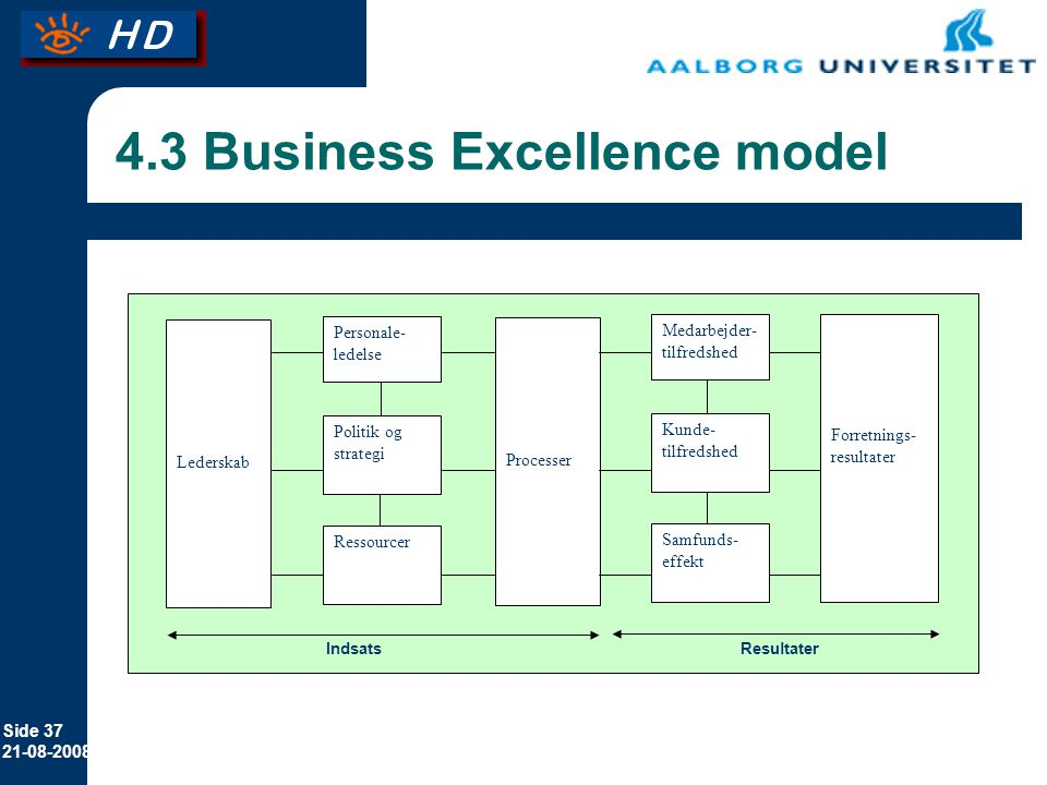 4.3 Business Excellence model