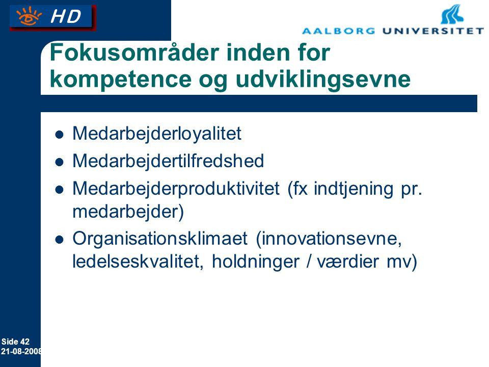 Fokusområder inden for kompetence og udviklingsevne