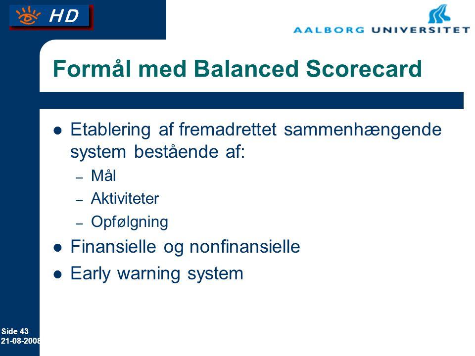 Formål med Balanced Scorecard