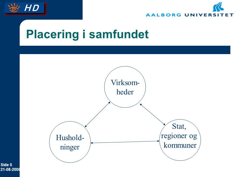Placering i samfundet Virksom- heder Stat, regioner og Hushold-