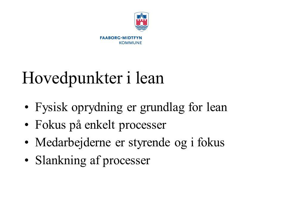 Hovedpunkter i lean Fysisk oprydning er grundlag for lean