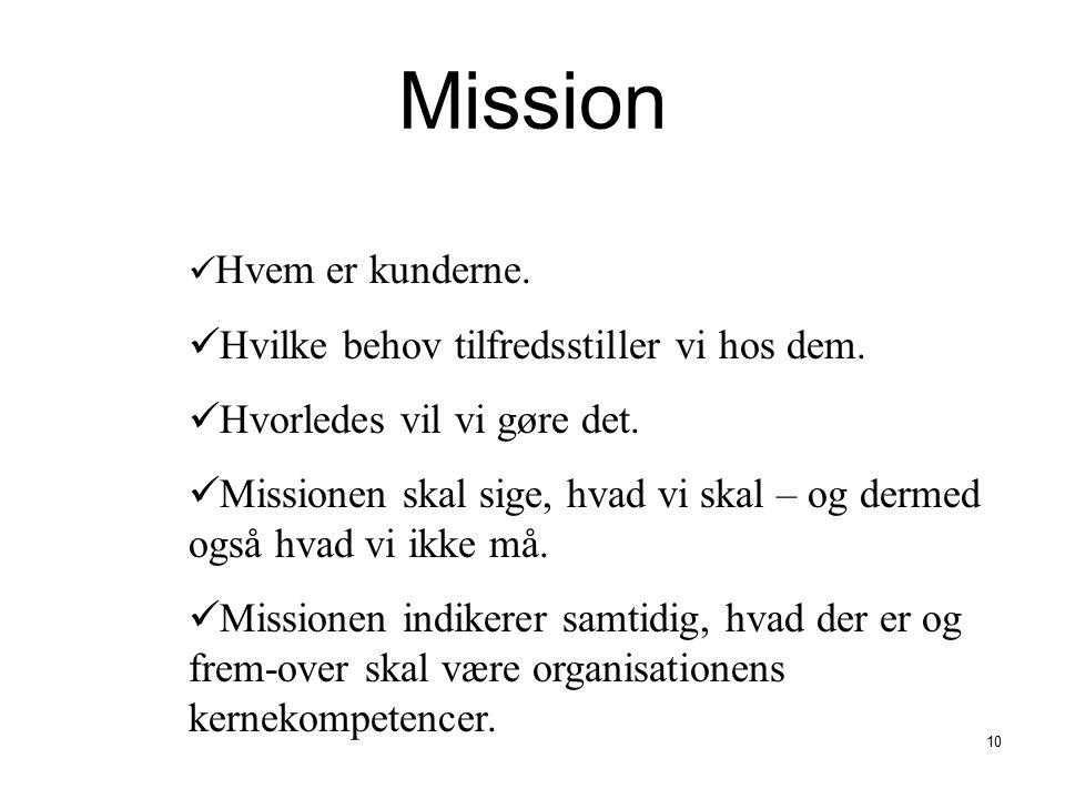 Mission Hvilke behov tilfredsstiller vi hos dem.