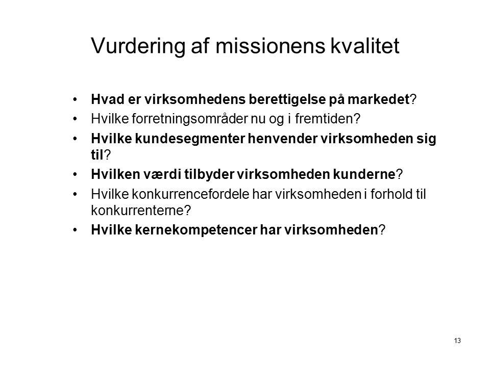 Vurdering af missionens kvalitet