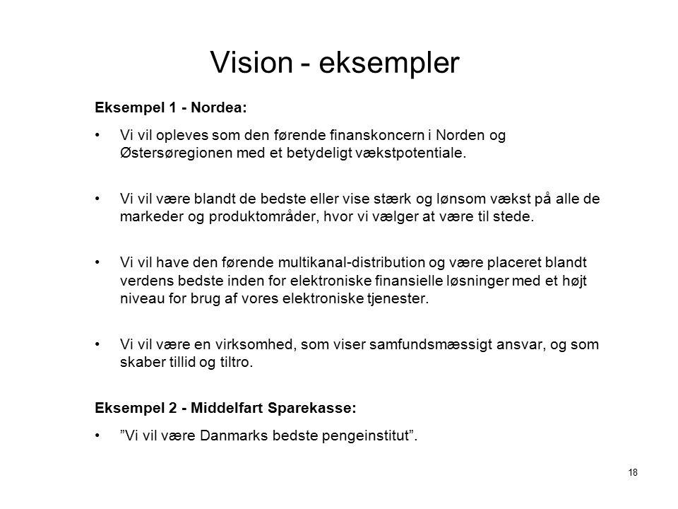 Vision - eksempler Eksempel 1 - Nordea:
