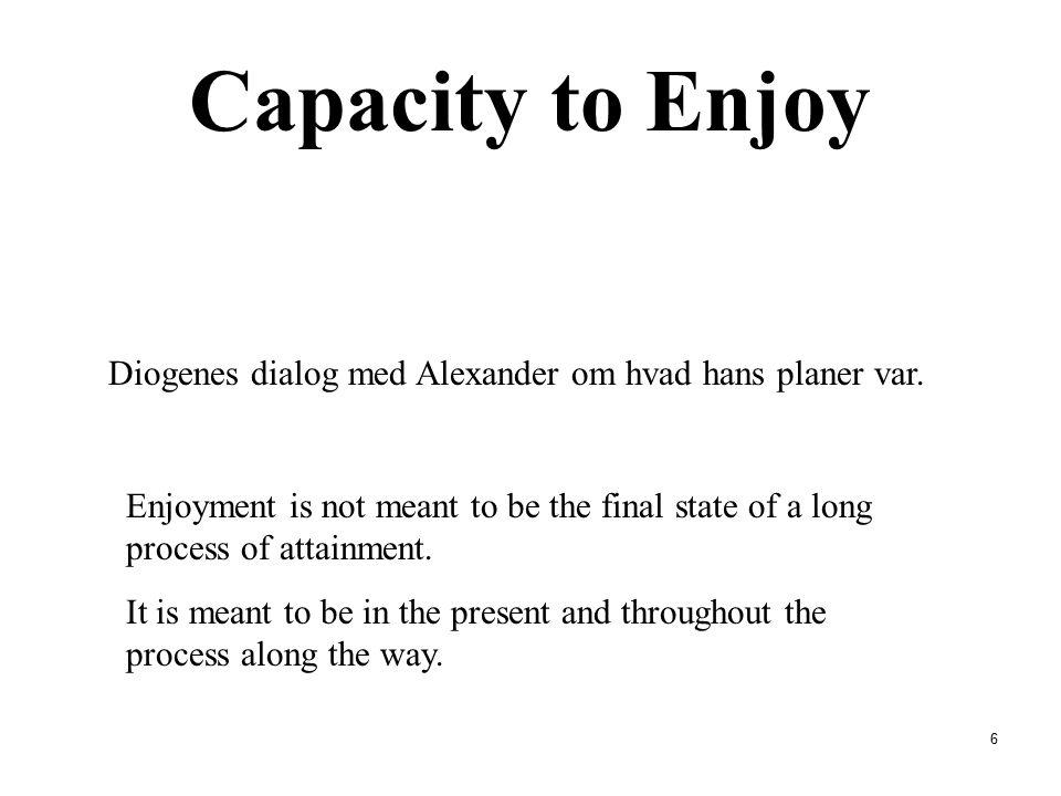 Capacity to Enjoy Diogenes dialog med Alexander om hvad hans planer var.