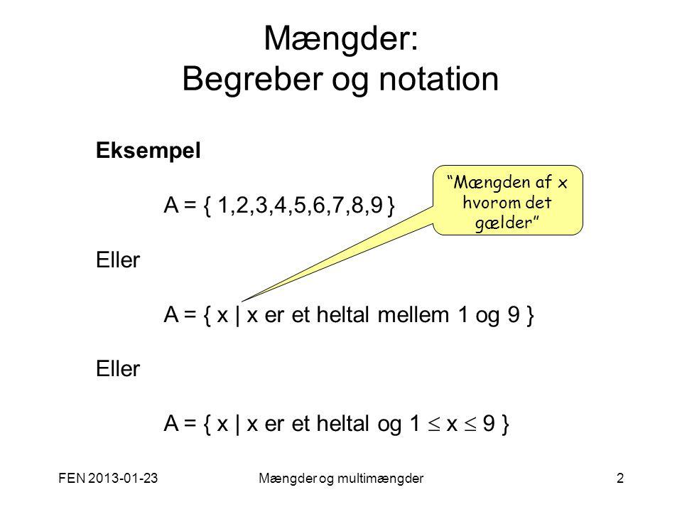 Mængder: Begreber og notation