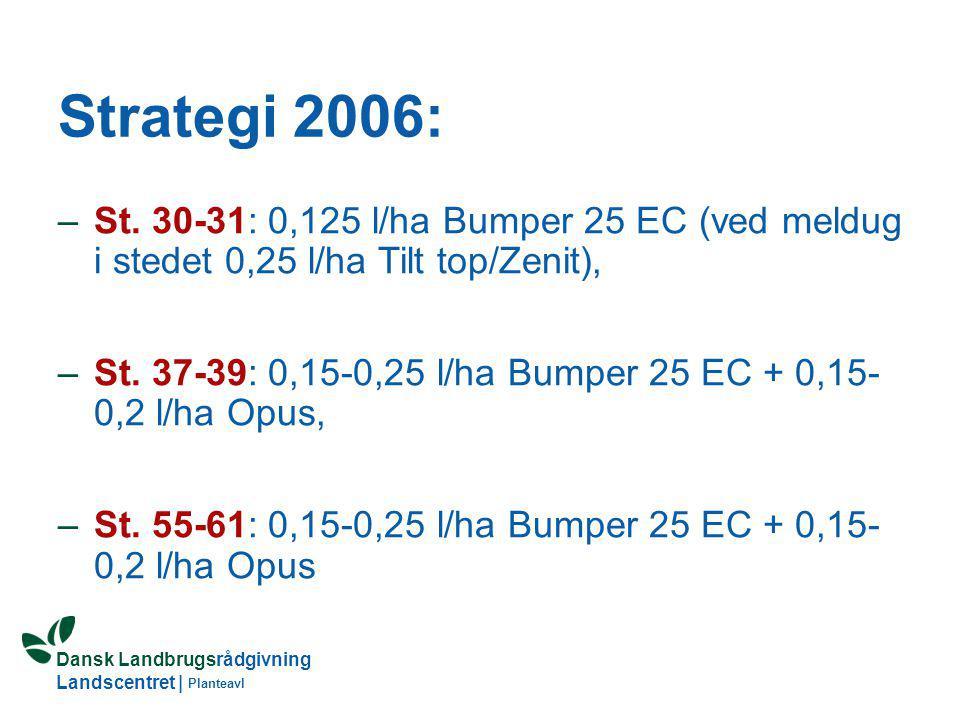 Strategi 2006: St. 30-31: 0,125 l/ha Bumper 25 EC (ved meldug i stedet 0,25 l/ha Tilt top/Zenit),