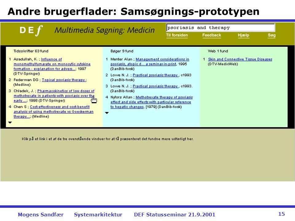 Andre brugerflader: Samsøgnings-prototypen